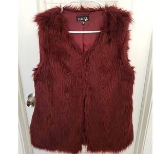Burgundy Faux Fur Vest
